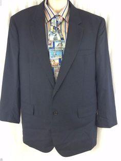 Jos A Bank Sport Coat 43R 100% Wool Vented 2 Button Dark Navy Blue Lined Blazer #JosABank #TwoButton #menssportcoat