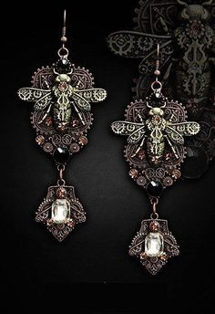 Steampunk Ohrhänger Gothic Earring Gothic Ohrringe  Mechanical Bee  Victorian