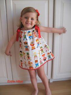 """Entre Hilos: Tutorial: como hacer un """"pillowcase dress"""" con atención especial en cómo coger las medidas"""