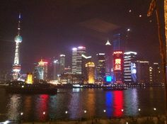 View from M on the Bund, Shanghai, China. I had the shrimp dish and their crispy skinned pork.