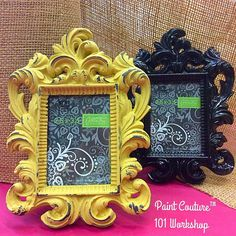 shinny black frame | painted Spanish Sunrise Paint Couture!(TM) | take a class