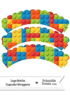 Lego Bricks Scalloped Cupcake Wrappers from PrintableTreats.com