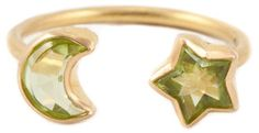 Marie Helene De Taillac peridot star & crescent moon ring
