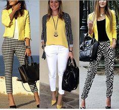 Para o clássico preto com branco, use o amarelo, fica uma produção cheia de luz para quem vai para o trabalho♡