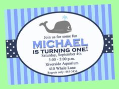 Whale Invitation Printable  The Preppy by ThatPartyChick on Etsy, $15.00