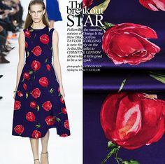 19 m/m Purple Red Rose flower style Print Silk by AnnyFabrics