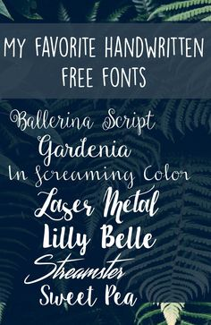 My favorite handwritten free fonts // In Screaming Color & Laser Metal Calligraphy Fonts, Typography Fonts, Typography Design, Pretty Fonts, Beautiful Fonts, Fancy Fonts, Cool Fonts, Photoshop, Dafont