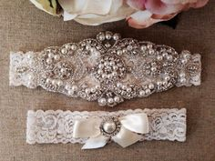 Wedding Garter - Bridal Garter - Pearl and Crystal Rhinestone Garter and Toss Garter Set on Etsy, $35.00
