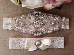 Wedding Garter - Bridal Garter - Pearl and Crystal Rhinestone Garter and Toss Garter Set on Etsy, $35.00