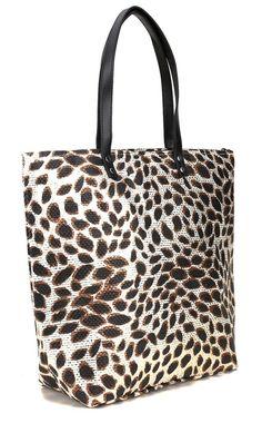 Leopard print straw tote