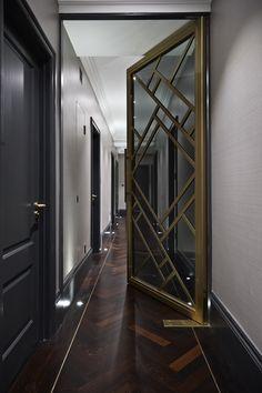 Boscolo Interior Design - Mayfair Apartment - Hallway #interiordesign #door #frame #wood #gold #luxury