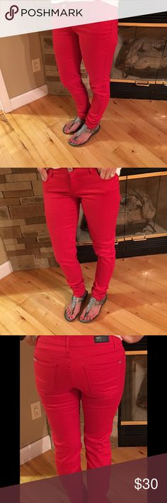 """Red Skinny Jeans Red Celebrity Pink jeans size 5.  Super soft and comfortable!  The inside is darker reddish- black so if you want to roll them up, it gives a nice pop of color!  30"""" inseam.  No stains, rips, tears, or fraying at the bottoms. Celebrity Pink Jeans Skinny"""