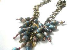 Paper Bead Jewelry -  Charm Necklace via Etsy
