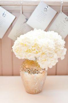 Hydrangea Flower Arrangements Wedding Flowers Photos on WeddingWire - Love that vase! Gold Centerpieces, Wedding Reception Centerpieces, Centerpiece Ideas, Hydrangea Arrangements, Wedding Arrangements, Wedding Bells, Our Wedding, Dream Wedding, Wedding Beauty