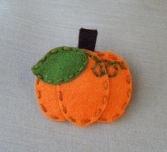 Pumpkin Halloween Fall Thanksgiving Wool Felt Snap Hair Clip (  Medium Size )
