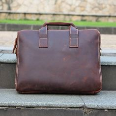 Men's Handmade Vintage Leather Briefcase / Leather by mollostudio
