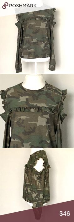 """NWT DREW Cold Shoulder Ruffled Camo Top SZ L Size Large Bust: 21.5"""" Length: 24""""  Sleeve length: 22"""" from sleeve opening to wrist Condition: New - Smoke/Pet Free How I Roll: No Trades/ No offsite Monkey Business/ I Love Bundles & Offers/ Please Ask Questions if you have them!  *All measurements taken while item is laid flat and across the front.  Thank you for stopping by my closet! #120118 🌹 DREW Tops"""