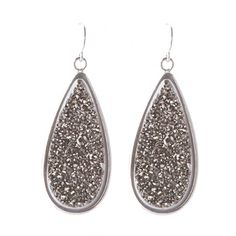 Marcia Moran Titanium Druzy Teardrop Earrings - Hypo-allergenic. Great gift for Mom.