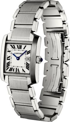 classic, elegant, simple lines, timeless, cartier -- Tank Française watch Medium model, steel