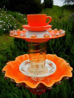 ORANGE PLUNGE - Garden Art, Bird Bath, Repurposed, Garden Totem, Garden Stake, Birdfeeder, Garden Sculpture, Yard Art, Garden Whimsy