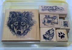 Stampin Up Wolf Wolves 6 pc Set of Rubber Stamps 2001 Wood Mounted Retired  #StampinUp #wolf #wolves