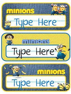 Educational Kismet : Minions Name Slates