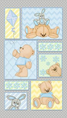 Teddy Time Flannel- F6245P-19 Bear Panel Blue Yellow Green - Approx.  Width 25 in X Length 43 in (WOF)