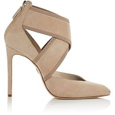 Lanvin Women's Crisscross-Strap Pumps ($439) ❤ liked on Polyvore featuring shoes, pumps, tan, ankle strap pumps, high heeled footwear, tan suede shoes, pointy toe ankle strap pumps and tan suede pumps