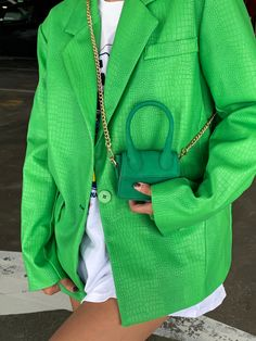 Green Fashion, Colorful Fashion, Look Fashion, Fashion Outfits, Fashion Trends, Stylish Outfits, Cute Outfits, Looks Street Style, Blazer Outfits