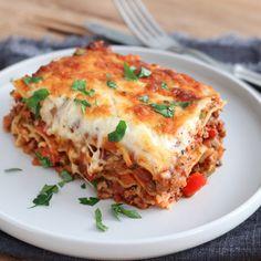 Lasagne with lots of vegetables - Spaghetti Recipes, Pasta Recipes, Cooking Recipes, Dutch Recipes, Italian Recipes, Lasagna Recept, Skinny Recipes, Healthy Recipes, Chicken Bacon Pasta