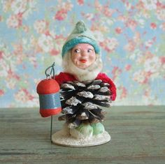 Christmas Ornament. Vintage Composition Chenille Pinecone Elf with Spun Cotton Lantern Japan- we have several similar figurines
