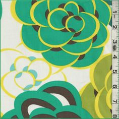 Jade/Ivory Floral Cotton - Fabric By The Yard