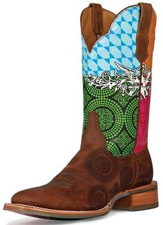 "Cinch Edge Women's ""Festival"" Square Toe Cowboy Boots - Brown/ Multi $269.00"