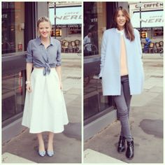 #PushWears with Victoria and Tanya; Feminine silhouette vs. structured pastel blue coat.