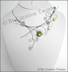 green and white necklace bridesmaids necklace by creationtwinne, $45.00