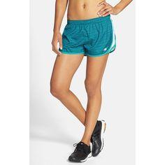 New Balance Print Running Shorts (130 SAR) ❤ liked on Polyvore featuring activewear, activewear shorts, sea glass deep water, new balance and new balance activewear