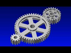 Set of three spur gears designed, animated and rendered in MAX 9 - Not true involute teeth but close enough. Spur Gear Design, Pulleys And Gears, Science Education, Grade 3, Cool Stuff, Classroom, Math, Psicologia, Class Room