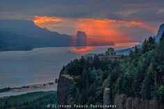 Beautiful sunbeams breaking through clouds during this epic Columbia Gorge sunrise. Wow! Photo by Clifford Paguio Photography.