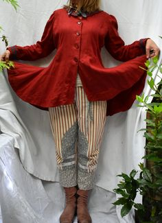 Red sailor jacket in Irish linen. Plus size Sailor Collar, Peplum Jacket, Victorian Steampunk, True Red, Jacket Pattern, Collar And Cuff, Hourglass, Irish, Curvy