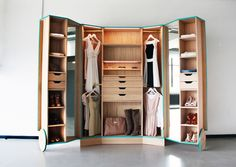 compact walk in closet by Designer Hosun Ching. He created the Walk-In Closet for his graduation project. The smart wardrobe opens out into a mini-fitting room, complete with mirrors to view your outfits from every angle. Walk In Closet Design, Wardrobe Design, Closet Designs, Closet Walk-in, Closet Storage, Locker Storage, Closet Ideas, Closet Space, Smart Storage