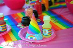 Rainbow Party - Party Hats & Juice Labels - {DIY Printables}    TheDigiButterfly.com  TheDigiButterflyPRTY.etsy.com