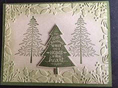 three trees - SU - Peaceful Pines stamp set, Perfect Pines framelits - Boughs & Berries EF