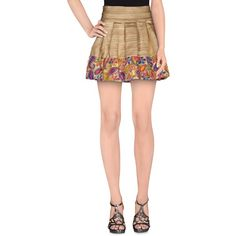 Lm Lulu Mini Skirt ($207) ❤ liked on Polyvore featuring skirts, mini skirts, gold, white skirt, paisley skirt, flared skirt, pleated mini skirt and flare skirt