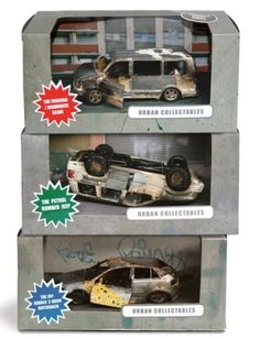STRANGE MODERN TOYS - BURNED OUT CAR WRECKS FOR YOUR FRONT YARD OR SLUM PARK.  Not the Urban  collection... LOL !!!