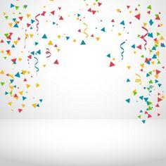 Fundo branco com confetti colorido