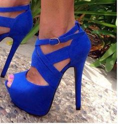 blue high heel strappy shoes