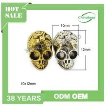 Hot new products for 2015 custom engraved metal bead skull beads silver bead