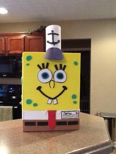 Spongebob Valentine Box. Made Using A Cereal Box U0026 Foamies.