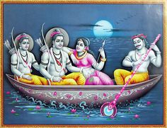 The Hunter King Guha Ferries Rama, Sita and Lakshmana Across the River Vaitarani (Reprint on Glazed Paper - Unframed)