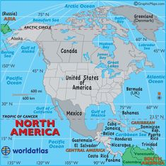This is a really cool website that includes factoids on history, relative size of continents, comparative info on countries and continents.  It has easy visuals and a section for geography, map and travel questions.  North America Map